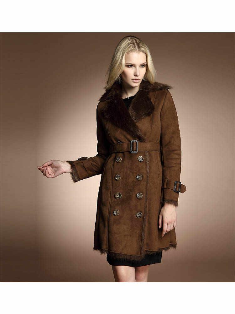 Abrigo de invierno grueso de cuero de imitación de gamuza abrigo de piel de zorro de imitación chaqueta de cuello talla grande XXL AA-378