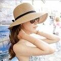 2016 Moda Hermosa Adultos Sombrero Sombrero de Paja Bow Summer Sun Beach Sun Sombrero Mujeres de La Muchacha Del Sombrero