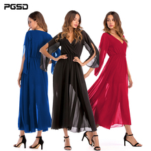 PGSD New Spring Simple Fashion Pure color Women Clothes Deep V-collar Splicing Half sleeve Chiffon pendulum long dress female
