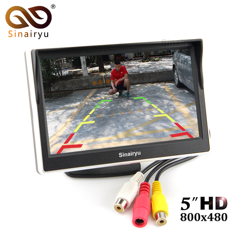 5 TFT LCD Car Rear View Mirror Monitor Parking Assistance With 2 RCA Video Player Input DC 12V Car Monitor For DVD Camera VCR high resolution 5 colorful screen tft lcd car rearview mirror monitor 800 480 resolution dc 12v car monitor for dvd camera vcr