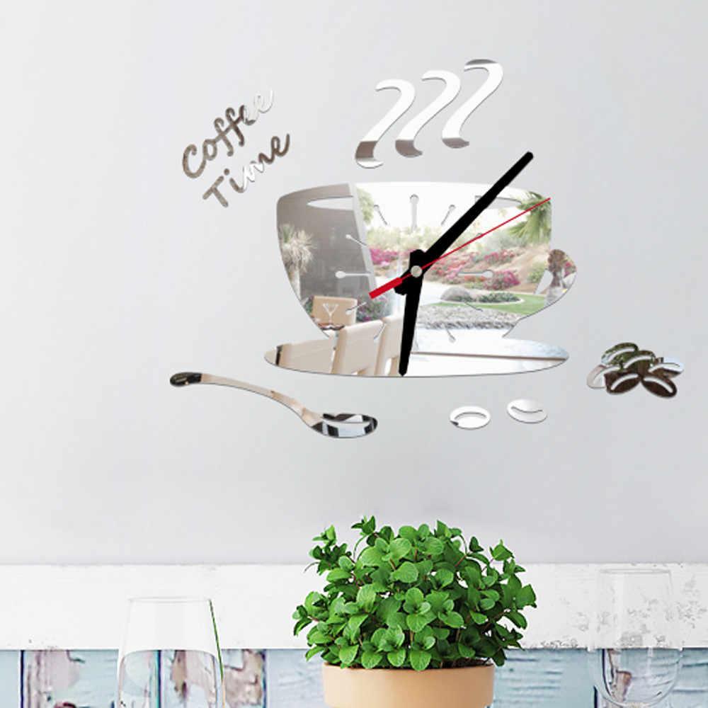 Coffee Shape Creative Love Digital Modern Removable Mirror Acrylic Wall Clock Sticker Vinyl Art DIY Home Decor HX08
