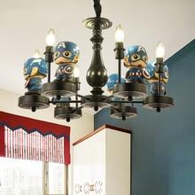 купить creative resin cartoon Captain America pendant light cute children LED hanging light for kid room boy girl bedroom art deco lamp дешево
