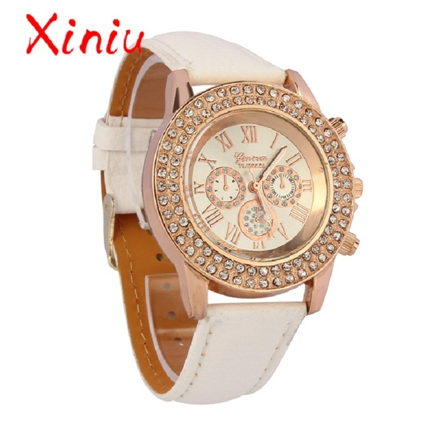 Zegarek Damski Clock Women Watches Geneva Wristwatch Leather 2018 New Ladies Wat