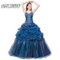 In Stock 2016 Cheap Quinceanera Dresses For 15 Years With Beaded V Neck Ball Gown Vestidos