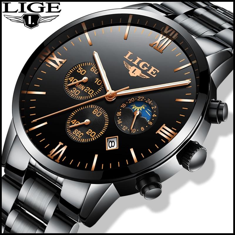 Relojes hombre LIGE Montre Hommes Mode Sport Quartz Horloge Homme Watchs Top Marque De Luxe D'affaires Montre Étanche Relogio Masculino