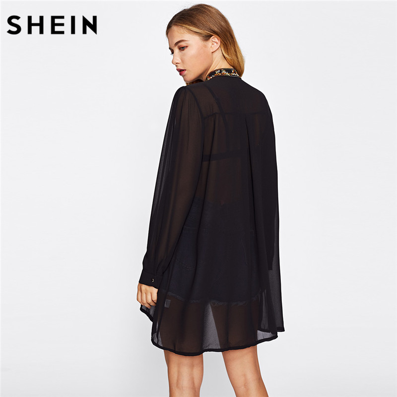 39d89699c3 Aliexpress.com : Buy SHEIN Women Tops Fashion Stand Collar Long Sleeve  Floral Embroidered Dipped Hem European Brand Spring Black Vintage Blouse  from ...