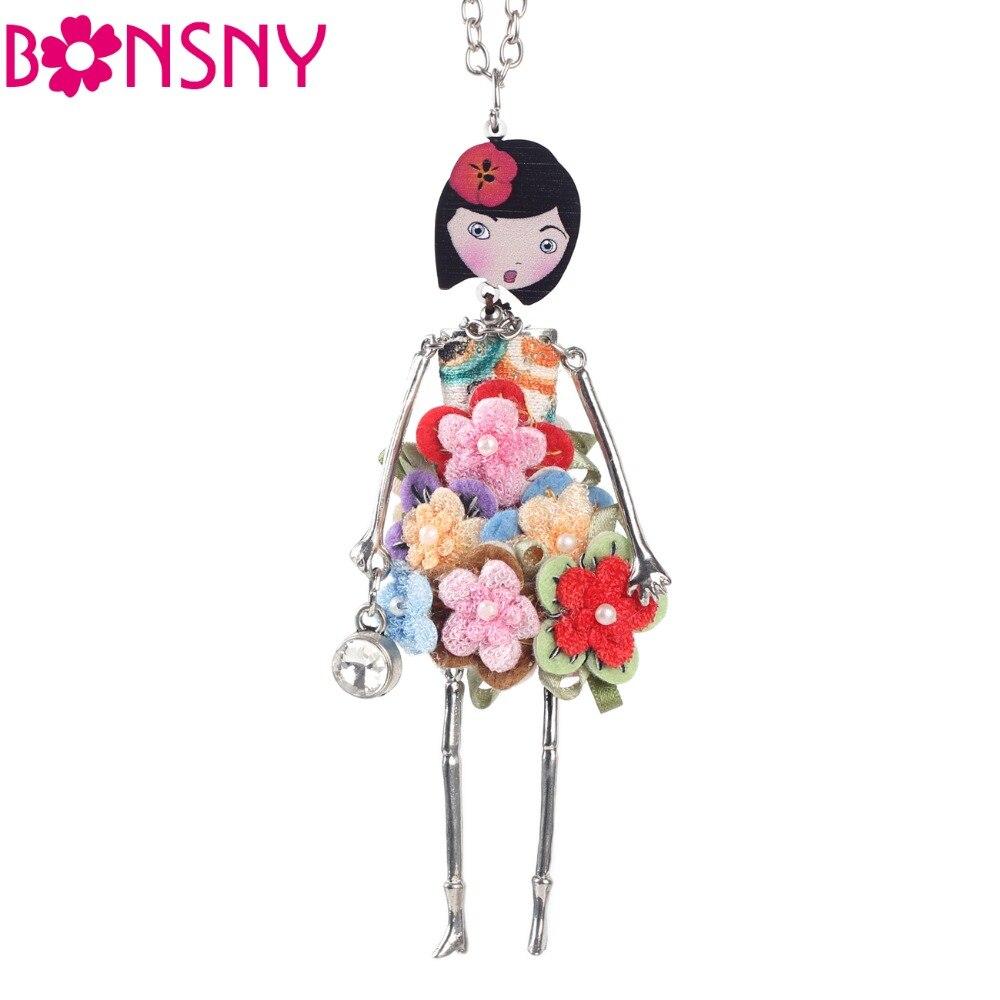 Bonsny doll Necklace Dress Trendy Long Chain 2017 New Acrylis