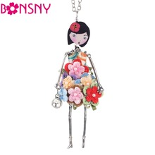 Bonsny doll Necklace Dress Trendy Long Chain 2017 New Acrylic Alloy For Girl Women Red Flower Figure Fashion Jewelry Accessories