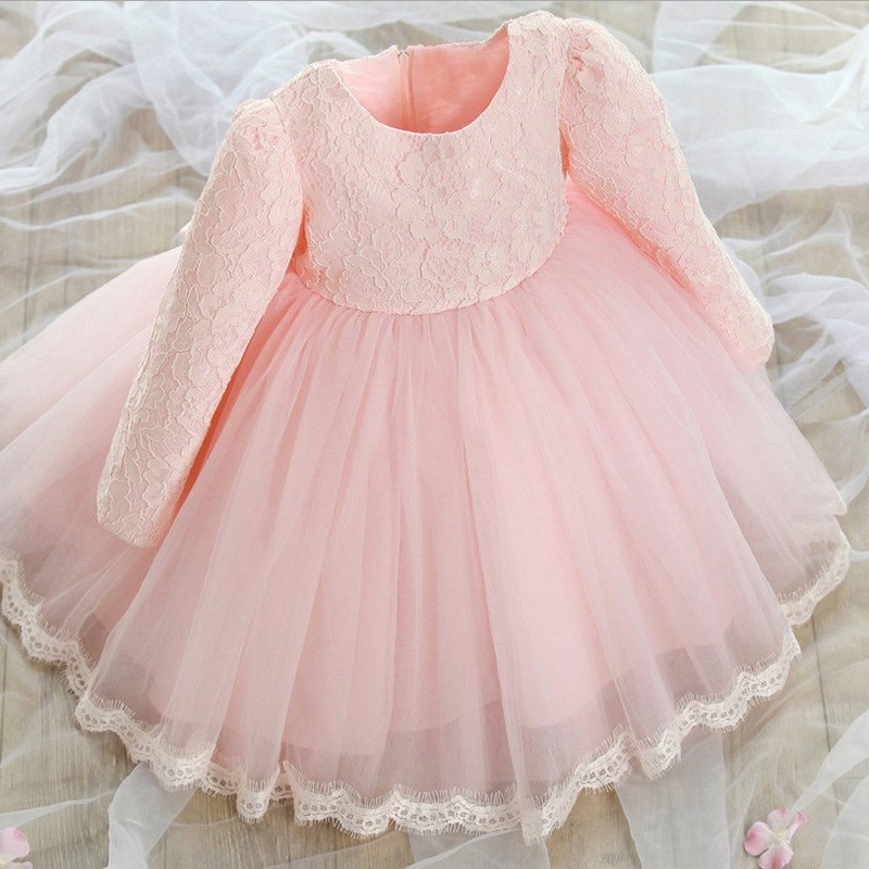 Full Princess Girls Dresses Long Sleeve Pink Summer Dress