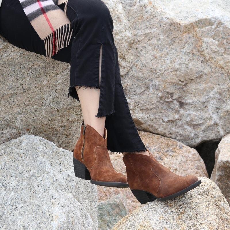 Классический миллионов лет высокого класса кожа Боковая молния грубая Женские короткие ботинки удобные ноги