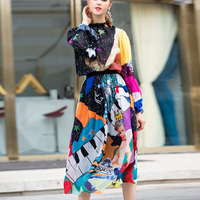 High quality 2019 designer summer fashion set Womens tops and blouses+Pattern Printed elegant Midi skirt Vintage Two Pieces Sets