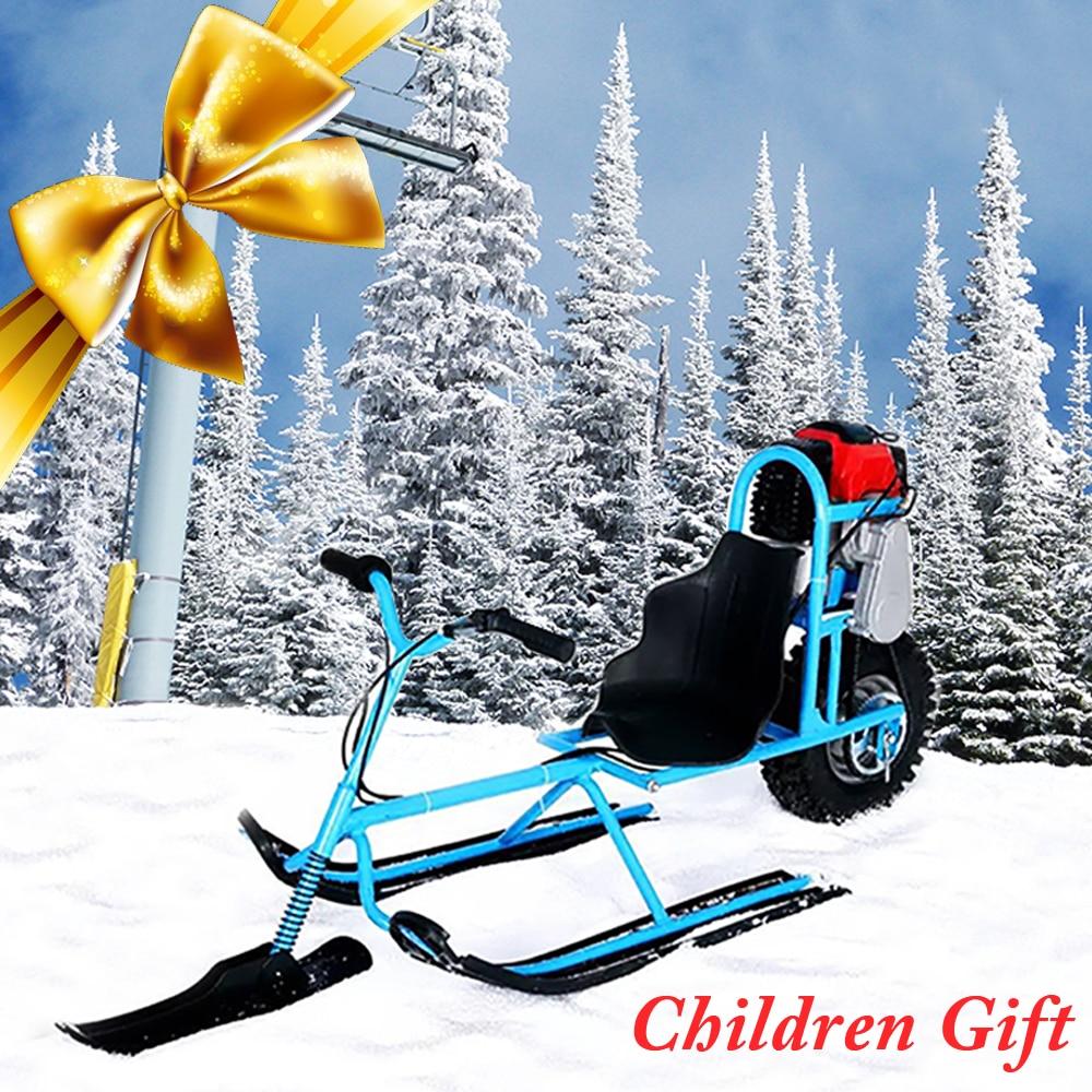 Ski électrique Véhicule Enfants Unique Conseil Carburant Motoneige Directionnelle Neige Luge Planches à Ski Pour Enfants Ski Équipements