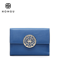 HONGU National Style Women Short Wallet Genuine Leather Female Retro Purse Multi Card Holder Girls Clutch