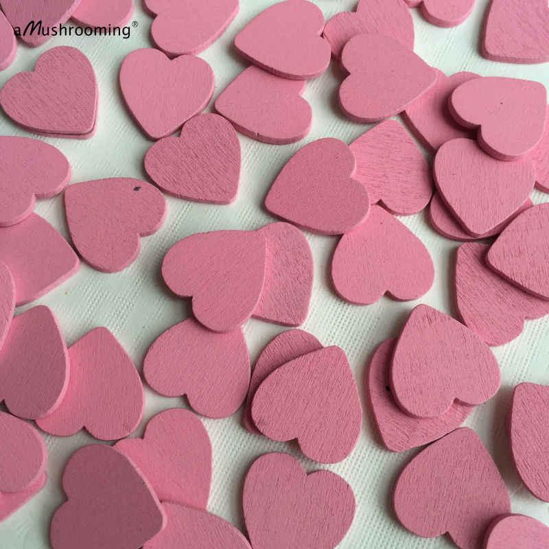 Mini corazón 50 piezas de madera sin terminar en forma de corazón Rosa piezas de artesanía suministros hallazgos decoración de boda rústica San Valentín