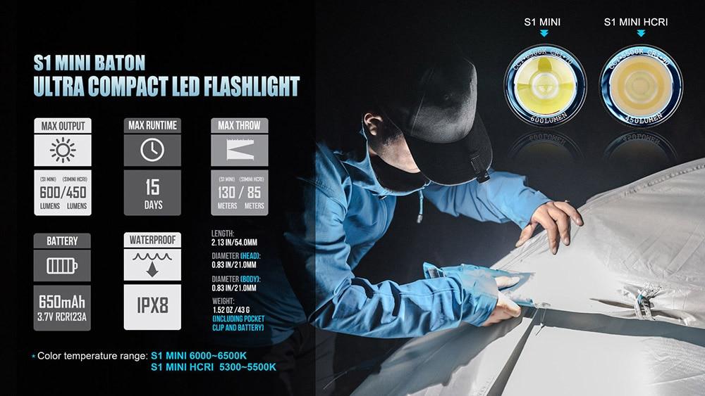 Olight S 1 mini-hcri 450 Lm CREE XP-G3 CW DEL Lampe de poche.