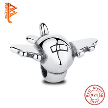 BELAWANG Real 925 Sterling Silver Airplane Aircraft Floating Charms Fit Original Bracelet with Plane Fighter DIY Jewelry