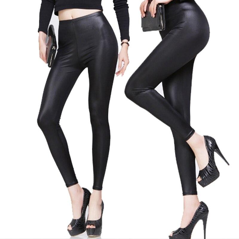 New New Fashion Women Nylon   Leggings   High Waist Stretch Skinny Shiny Pants Slim Fit   Legging   Autumn Trousers MV66