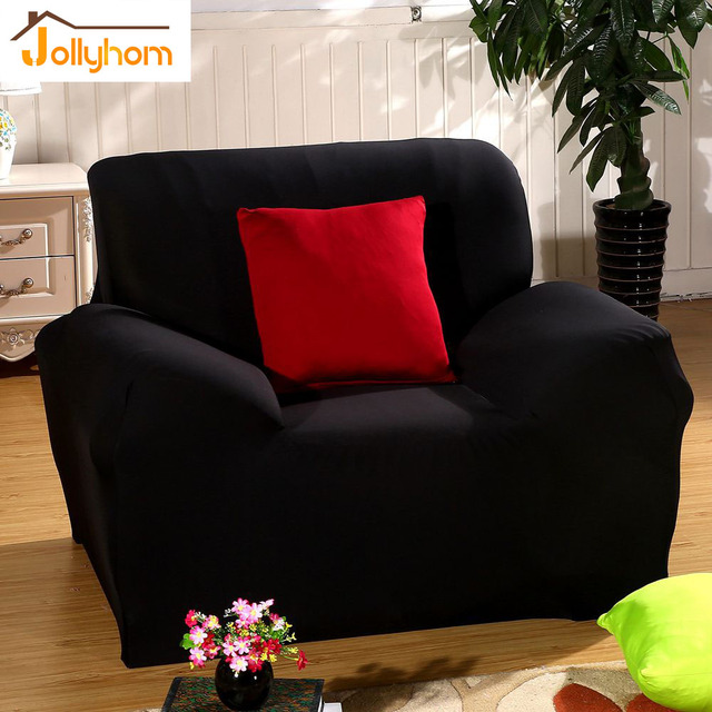 Solid Black Color Sofa Slipcover Armchair Corner Full Body Chaise Elasticity Flexible Cover Anti