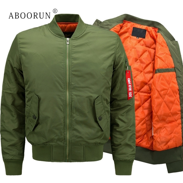 25848d1934f ABOORUN Plus Size 8XL Bomber Jacket Men s Fashion Thick Winter Military Jackets  Flight Ma-1 Pilot Air Force Coat W2083