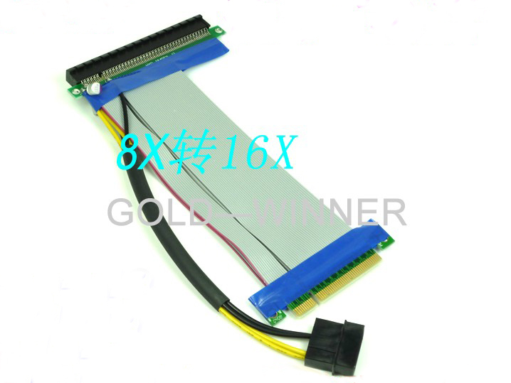 100PCS---Brand NEW PCI-e express 8X to16X Riser Extender Card with molex power + ribbon cable debroglie 1pcs brand new full height gt210 real 1gb ddr3 pci express graphics video card