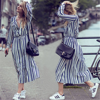 Sundress Summer Beach Dress Navy Blue Stripe Cotton Long Dresses Bohemian Belt Two Pocket Beach Dresses Long Sleeve Blouse Dress
