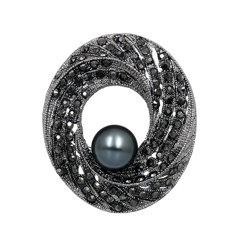 baiduqiandu Factory Direct Sale Black Crystal Rhinestones Circle Brooches with A Simulated Pearl For Women In Gun Color Plated