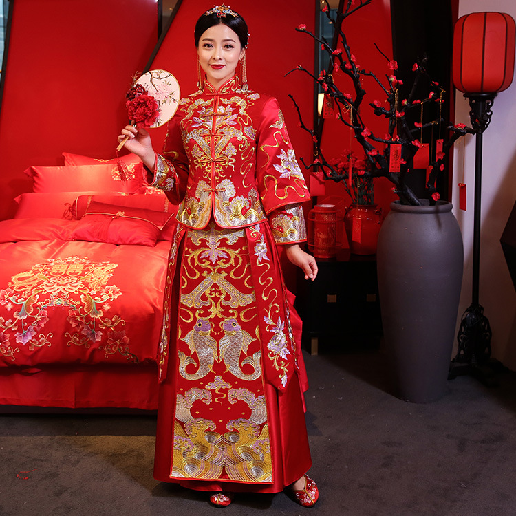 Vintage Full Length Asian Women Wedding Dress Ancient Bride Marriage Suit Traditional Embroidery Cheongsam Oriental Qipao