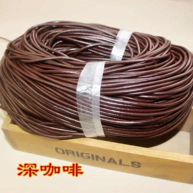5Y/lot 1 1.5 2 2.5 3 4 mm véritable cuir de vache cordon Bracelet résultats collier ronde en cuir corde chaîne fabrication de bijoux résultats