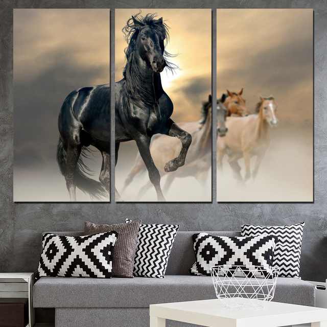 Canvas Wall Art Pictures Modern Home Decor 3 Pieces Black Horse Animal Paintings For Living Room