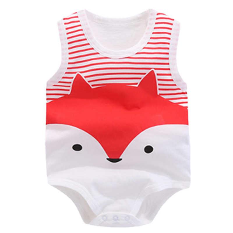 2019 Cute Cartoon Baby Suit Bodie Baby Bodysuit Newborn Baby Boy Girls Sleeveless Bodysuit Soft Cotton Blends Infant Jumpsuit