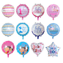 18Inch Round 1st Birthday Foil Balloon Baby Boy Girl Star Heart Shape Balloons Happy Shower Decors