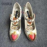2018 shaduo women Love peach doodle print cartoon character pattern decorative high heel wedding party rhinestone buckle shoes