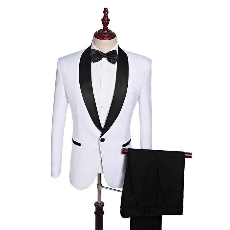 2019 Latest Mens Slim Fit Wedding Suits Male Casual Skinny Tuxedo Shawl Lapel Suits White Men Tailor Made Suits Jacket Pants