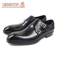 Бренд grimentin/брендовая мужская обувь; Новинка 2019 года; натуральная кожа; ручная работа; двойная Пряжка; Черная модная свадебная мужская обувь