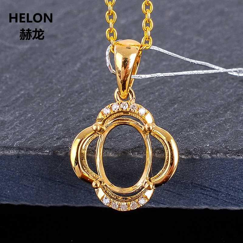 6X8 MM Oval Cắt Bán Gắn Kết Tự Nhiên Kim Cương Mặt Dây Chuyền Rắn 10 k Vàng Phụ Nữ Vàng Mặt Dây Chuyền Tăng Trắng vàng Tùy Chọn