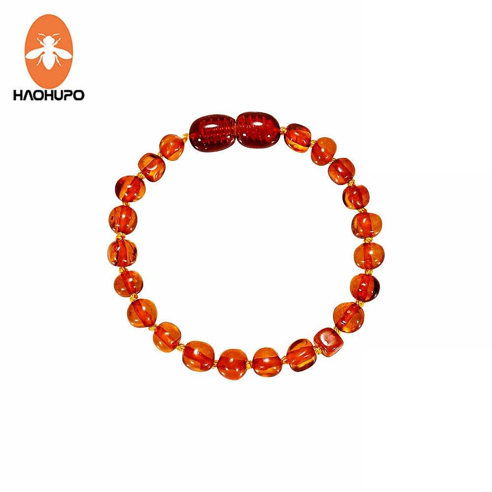 Haohupo Cognac Amber Tumbuh Gigi Gelang Gelang Kaki 4.7-8.7 Cm Buatan Tangan Asli Perhiasan Baltic Amber Beads untuk Bayi Dewasa Wanita