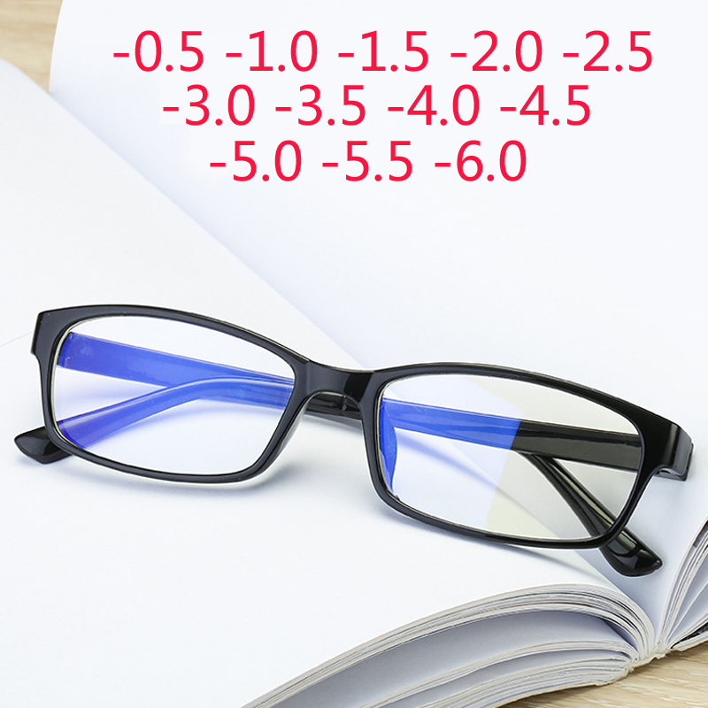 Anti-Blu-ray Prescription Nearsighted Glasses Women Men Cheap Desginer Anti-fatigue Finished Myopia Glasses -0.5 -1.0 -2.0 -6.0