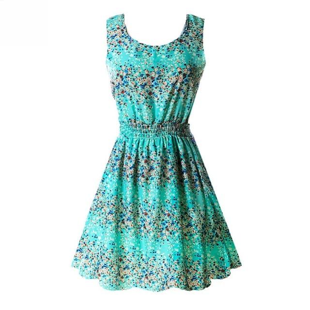 Fashion Summer Women Beach Chiffon Black Dress Sleeveless Sundress Sexy Ladies Floral Tank Party Evening Mini Dress M-XXL Hot 4