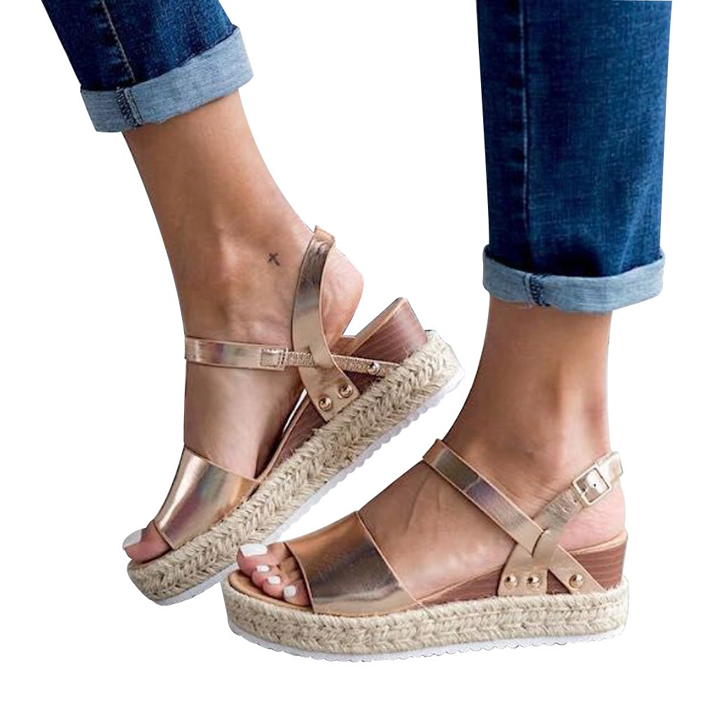 Ladies Sandals Gold Wedge-Buckle High-Heeled Fashion New Chain Outdoor Waterproof Mujer