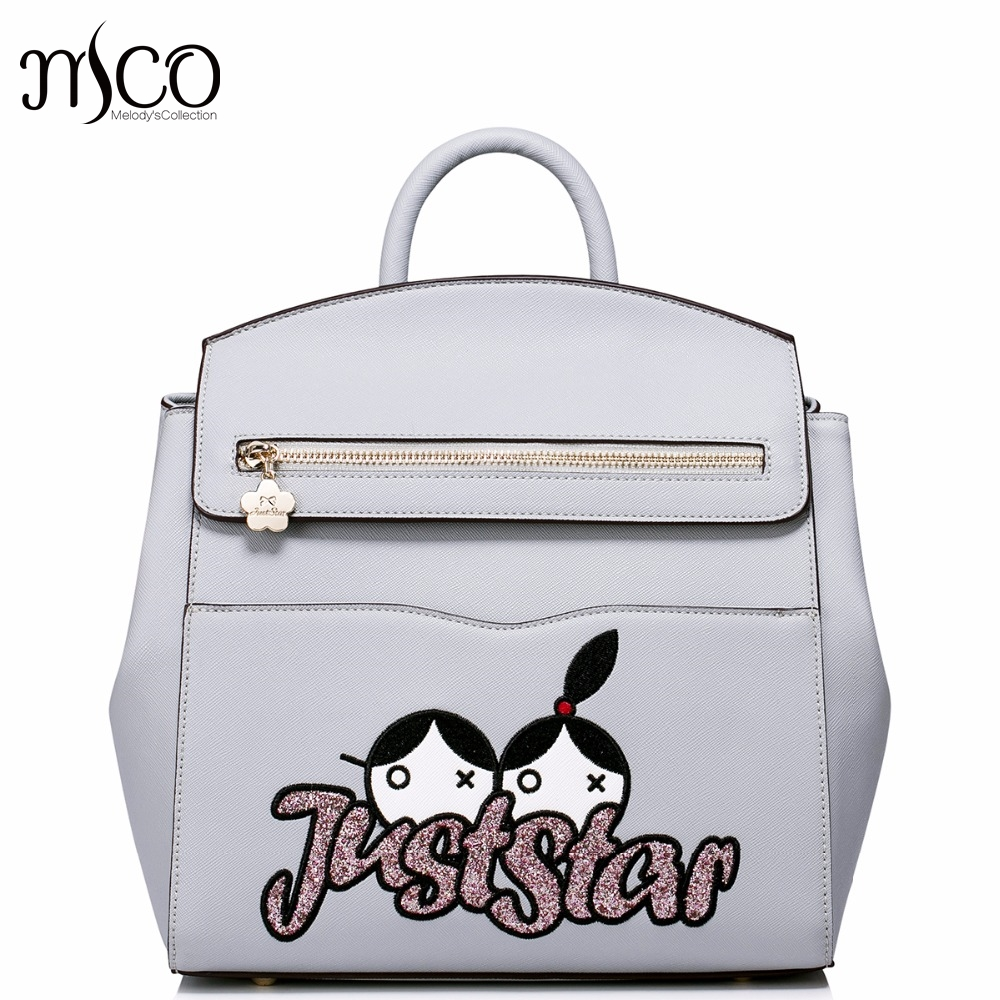 Brand Design Cartoon Embroidery Casual PU Women Leather Girls Ladies Backpack Shoulders Travel School Bags Student Daypack 2017 new brand ballet girl embroidery drawstring pu women leather ladies backpack shoulders school travel bags student daypack