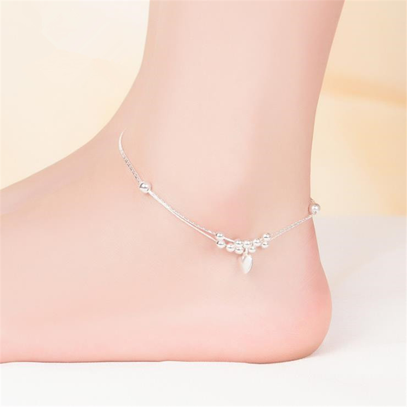 KOFSAC Summer New 925 Sterling Silver Chain Anklets For Women Beach Party Romantic Love Heart Ankle Bracelet Foot Jewelry Gifts