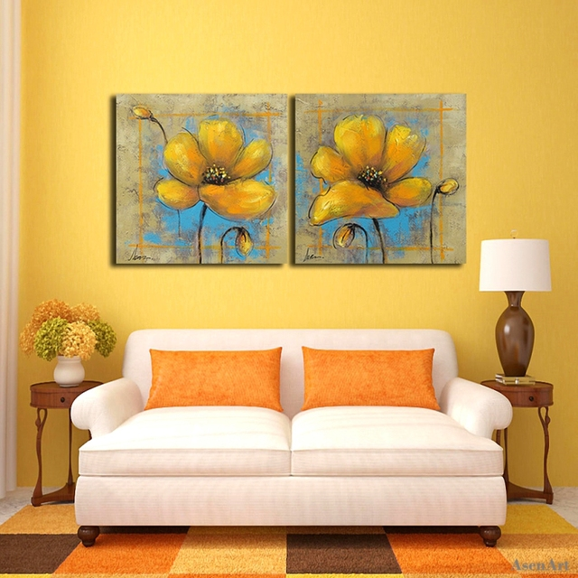100% Hand Painted Yellow Flower Oil Painting Unframed Picture Canvas ...