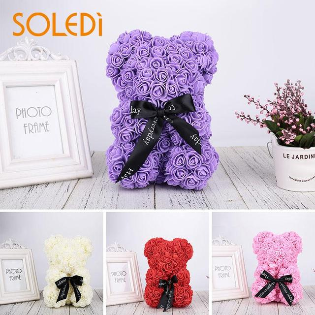 Us 7 99 40 Off Valentines Romantic Gift Box Pe Rose Bear Artificial Rose Decorations Cute Cartoon Girlfriend Kid Gift Mother S Day Gift In