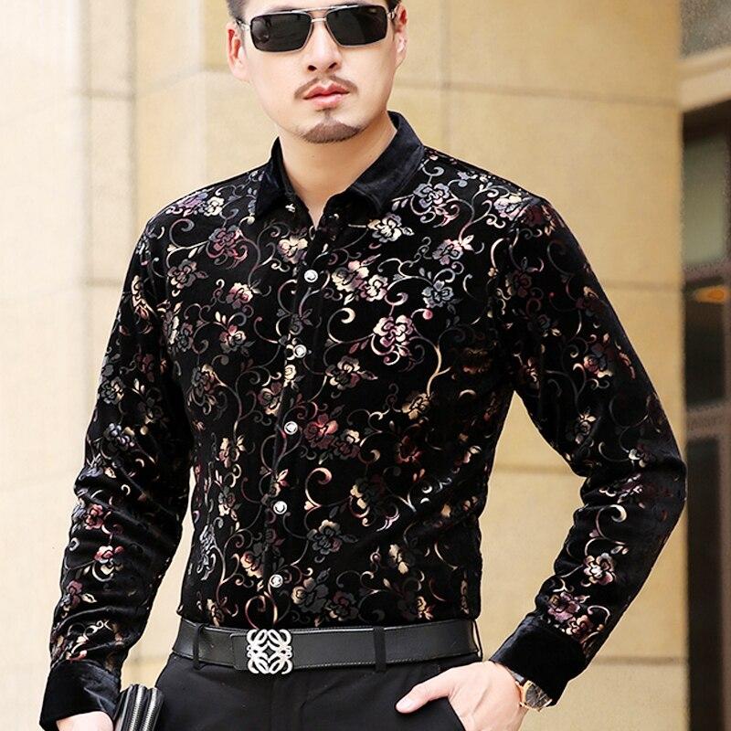 2018 nouveauté automne hiver hommes or velours chemise mode Floral mâle à manches longues velours robe chemises