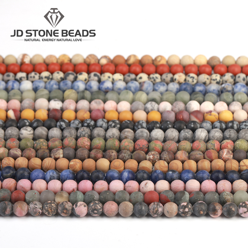 18 Color Natural Matte Assorted Gemstone Round Loose Stone Frost gemstone beads for  Bracelet Making