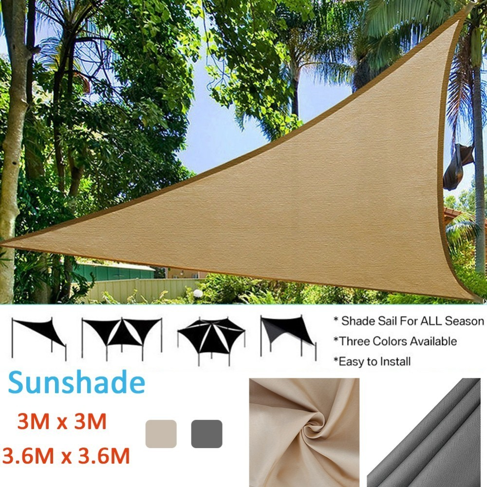 Triangle Sun Shade Sail Protection Outdoor Canopy Garden Patio Pool Shade Sail Camping Picnic Tent Awning W/1800D Wind Rope