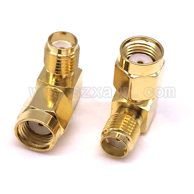 JX Connector 2PCS SMA Female To RP SMA Male Connector 90 Degree Right Angle RP SMA Male To Female Adapter For WIFI Antenna / FPV