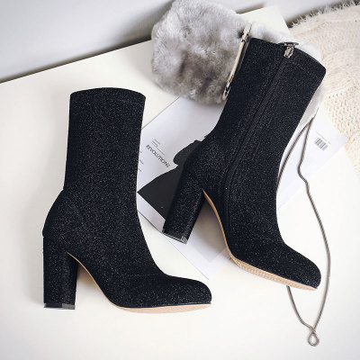 Silver leather Women Ankle Boots Glitter Zipper Side Velvet Sock Thigh High  Boots Slim Elastic Shoes Woman Thick High Heels Pump-in Ankle Boots from  Shoes ... bfd485a2ab16