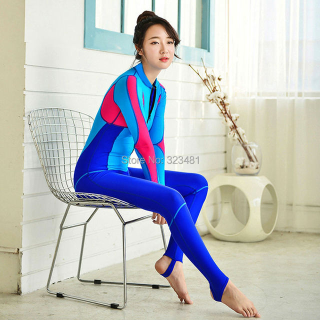 0ef4035b63 2018 One Piece Diving Wetsuit Front Zipper Korea Women UV Diving Surf Suit  Scuba Snorkeling Rashguard