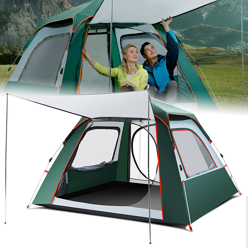 Professionnel 3-4 personnes tente hydraulique automatique coupe-vent imperméable Double couche rapide ouvert randonnée Camping tentes pour enfants